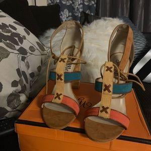 Color Block Chunky Heels
